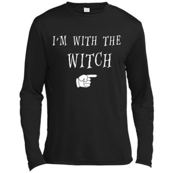 Men's Halloween Couples Costume I'm With The Witch Long Sleeve Moisture Absorbing Shirt