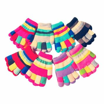 More Funny Lovely Neutral Multicolour Stripe Winter Mittens Plush Line Knitted Gloves luvas femininas para o inverno eldiven