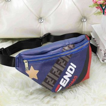 FENDI Leather Waist Bag Sport Single Shoulder Bag Crossbody Satchel Blue