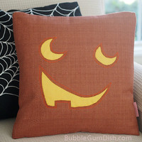 Jacky the Jack o Lantern Pumpkin Pillow Cover Halloween Decor 18 x 18