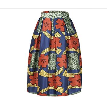 Women's African Print Knee Length Flare Skirts With Pockets, Orange Blue Floral, Sizes Small - XLarge