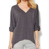 Charcoal Semisheer Sidetail V-Neck Tunic