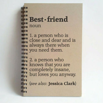 Best friend definition, 5x8 custom Journal, personalized, spiral notebook, brown kraft notebook, white journal, best friend journal, bff