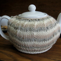 Winter White, Soft Pink and Gray  Knit Wool Teapot Cozy fits 6 cup teapot
