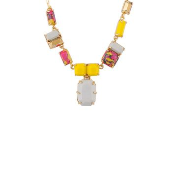Les Néréides GEOMETRICAL FINERY PINK, YELLOW AND GREY AND GOLD STONE NECKLACE