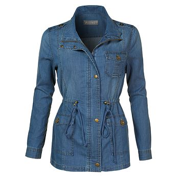 LE3NO Womens Lightweight Long Sleeve Anorak Cotton Denim Jacket with Drawstring Waist