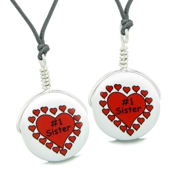 Love Couples or Best Friends Set Cute Ceramic Number One Sister Lucky Charm Amulet Adjustable Necklaces