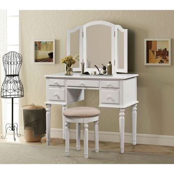 Vanity Table Set with 3 Panel Mirrors White