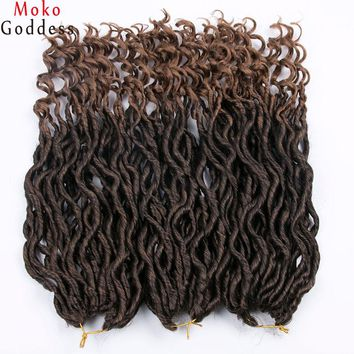 Mokogoddess 18 inch Goddess Locs Braid Crochet Braids Synthetic Braiding Hair 24 strands/pack Ombre Color Extensions Hair