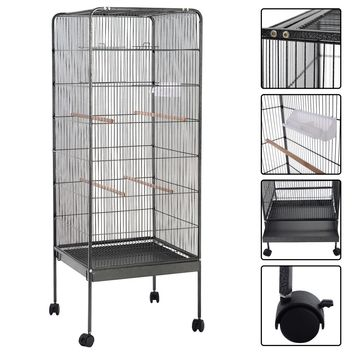 """58"""" Flattop Large Bird Cage Pet Supply This bird cage with sturdy and durable design offers a lovely environment for birds to play, inhabit and be fed both inside and outside"""