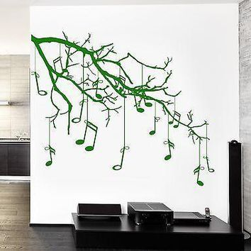 Wall Vinyl Music Tree Branch Notes Cool Guaranteed Quality Decal Unique Gift (z3542)