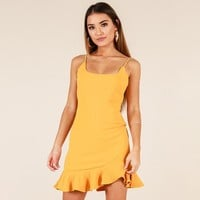 Falbala Slim Pure Color Spaghetti Straps Short Dress