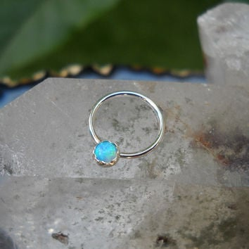 Blue Opal Nipple Ring Piercing / Septum Ring Sterling Silver Handcrafted