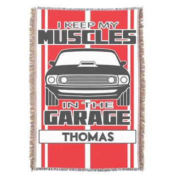 I Keep My Muscles In The Garage Muscle Car Red Throw Blanket