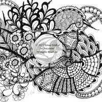 Colouring Sheet Zen Doodle Instant Download pdf Abstract Art Zentangle Inspired. 'Bounty'