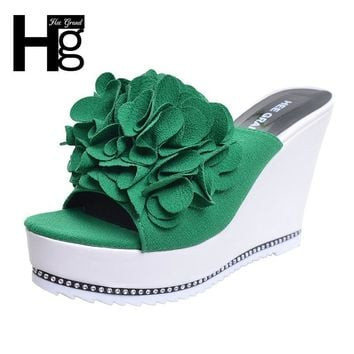HEE GRAND Flower Slippers Women Wedge Slides Peep Toe Summer Wedge Heel with Platform