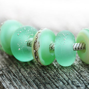Seafoam Green European charm beads, Seaglass look Mint Large Hole beads, Beach Glass bracelet beads, Handmade Lampwork, Ocean, by MayaHoney