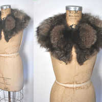 Fox Fur Collar / black and white