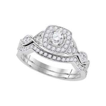 14kt White Gold Womens Round Diamond Bridal Wedding Engagement Ring Band Set 3/4 Cttw - FREE Shipping (US/CAN)