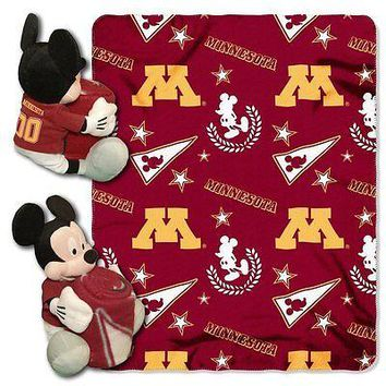 Minnesota Gophers NCAA Mickey Mouse Throw and Hugger Pillow Set