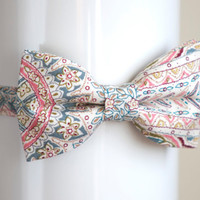 Unique handmade cotton bow tie - paisley bow tie - adjustable size - with gift package