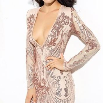 Shining For You Gold Sequin Floral Geometric Long Sleeve Plunge V Neck Bodycon Mini Dress