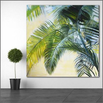 Large size Printing Oil Painting Sandy beach Brown leaves wall art canvas prints pictures for living room and bedroom No Frame
