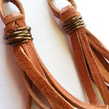 Jewelry - Earrings - Tassel Earrings - Leather Tassel - Tassel Jewelry - Brown Leather - Dangle Earrings - Drop Earrings - Cute - Trending