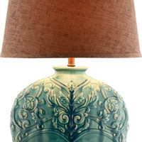 0-004286>Rochel 1-Light Table Lamp Turquoise Green