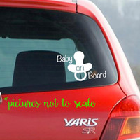 FREE SHIPPING! Baby on Board Car Decal | Vinyl car decal with pacifier | Multiple colors and sizes available!