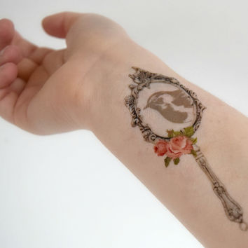 Temporary Tattoo - Bird, Vintage, Floral, Spring, Hand Mirror, Vintage Object, Spring Accessories