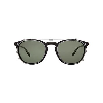 Garrett Leight - Kinney Clip 47mm Brushed Silver Clip-On Sunglasses / G15 Lenses