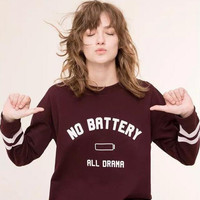 """No Battery ""Letter Print Long Sleeve Sweater B0014032"