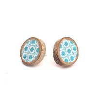 AQUA PATTERN Earrings, Fabric & Wood Studs, Round Floral Post Earrings, Blue Wooden Circles