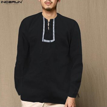 INCERUN — Men's Long Sleeve Collarless Loose Casual Shirt (2018)