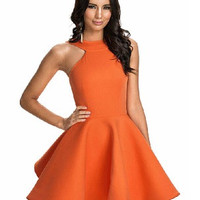 Orange Halter Sleeveless Skater Dress