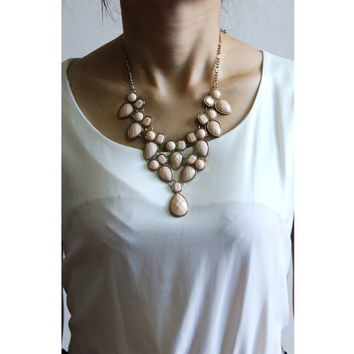 Gorgeous Gold-tone Light Pink Tear Drop Stone Funky Statement Necklace