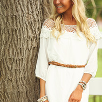 All Eyes on Me Lace Belted Dress Ivory
