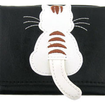 White Cat Applique Small Vegan Leather Wallet