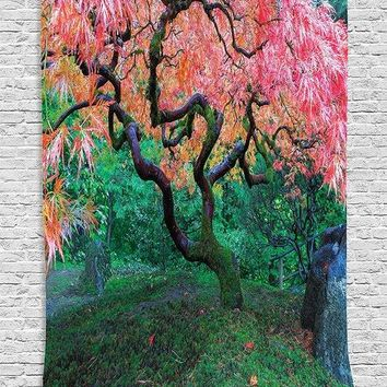 Japanese Tapestry Wall Hanging Aged Red Leaf Maple with Moss Asian Garden Scenery in the Autumn Grass Relaxation in Nature Decor