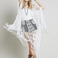 FP Vintage Revival Womens FP Vintage Revival Pyramid Lace Poncho
