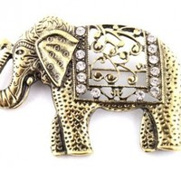 12 Pieces of Goldtone Iced Out Good Luck Elephant Brooch & Pin Pendant