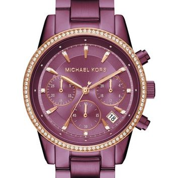 Michael Kors Ritz Crystal Chronograph Bracelet Watch, 37mm | Nordstrom