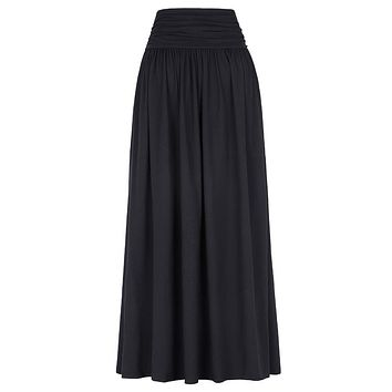 Fashion Cotton Long Skirts Womens Floor Length Pleated Autumn Maxi Skirt High Waist Stretch Casual Big Size Ladies Skirts Saia