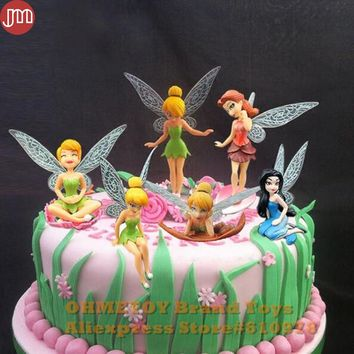 New 6PCS Tinkerbell Toy Tinker Bell Playset Dolls Flying Fairy Princess Mini Figures Baby Girl Birthday Gift Cake Toppers