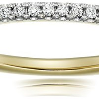10k White Gold and Diamond Prong Anniversary Ring (1/10 cttw, I-J Color, I3 Clarity)