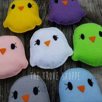 Colorful Plush Chicks - Recycled Plastic Felt Toy Chickens - Great for gifting, Easter basket stuffing, and even gentle dog toys!