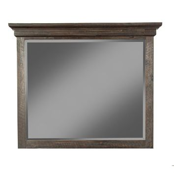 Acacia Wood Framed Mirror In Traditional Style Brown