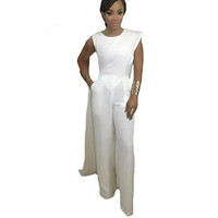One Piece Jumpsuit Elegant Casual White Sleeveless With Cloak Long Playsuits Rompers Womens Jumpsuit Sexy Rompers For Women