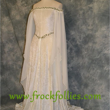 "Medieval Dress, Elvish Wedding Dress, Handfasting Dress, Elvish Gown, Renaissance Gown, Medieval Gown,""Guinevere"""